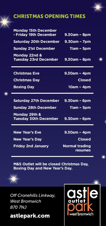 Astle Retail Park, West Bromwich – Christmas Hours