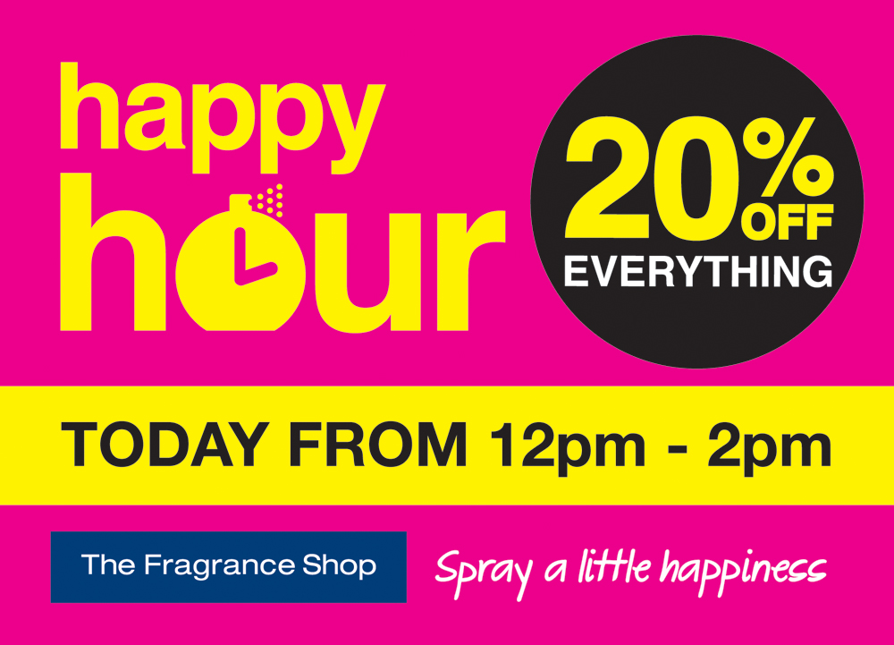 The Fragrance Shop Happy Hour – Monday 2nd December to Friday  6th December
