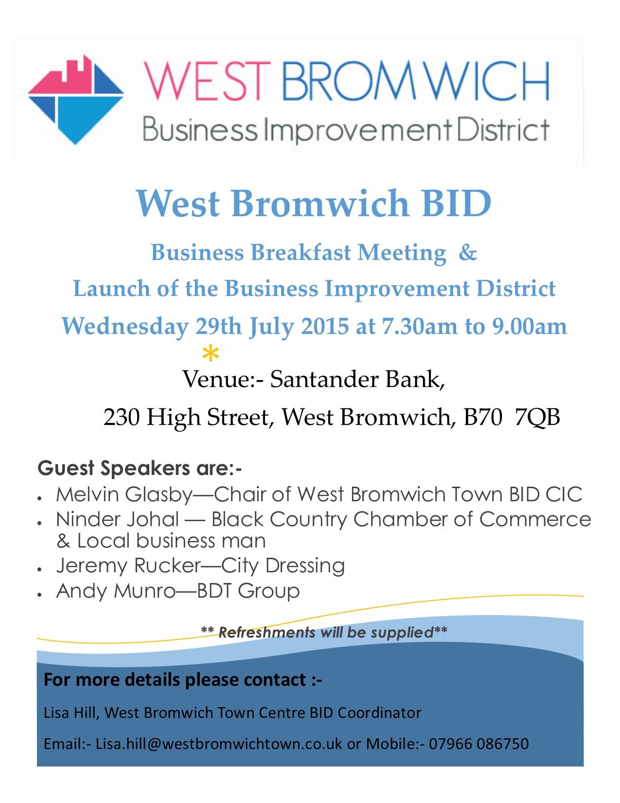 West Bromwich Town BID Breakfast Meeting **TOMORROW**