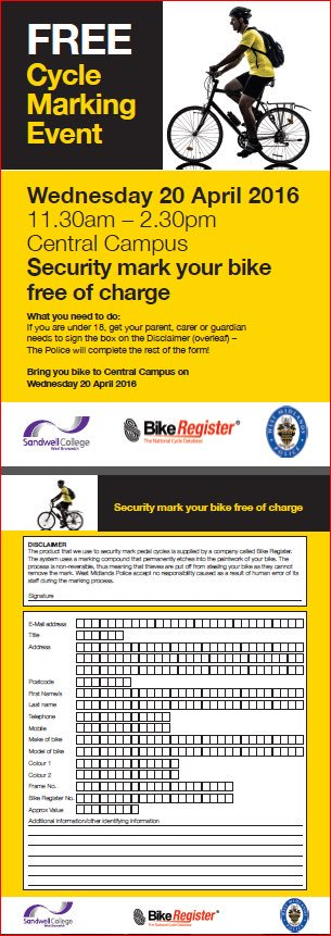 **FREE** Cycle Marking Kits – Wednesday 20th April 2016