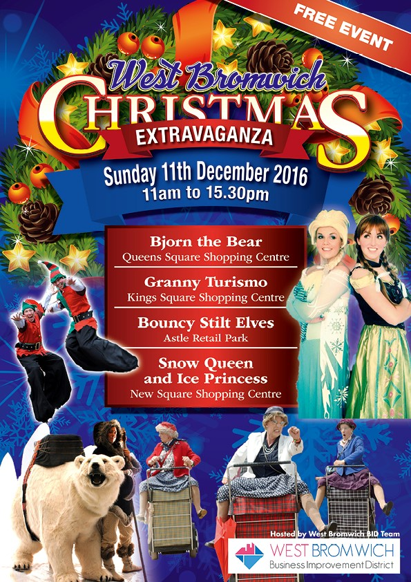 Christmas Extraviganza in West Bromwich Town Centre this Sunday 11th December 2016