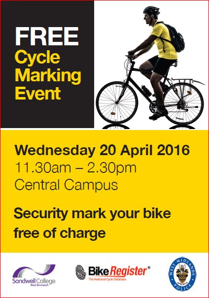 Bike Marking Kit Event on Wednesday 20th April 2016