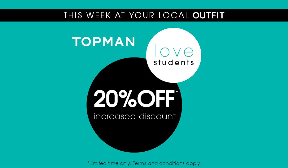 20% Off in Topman, Outfit, New Square Shopping Centre, West Bromwich