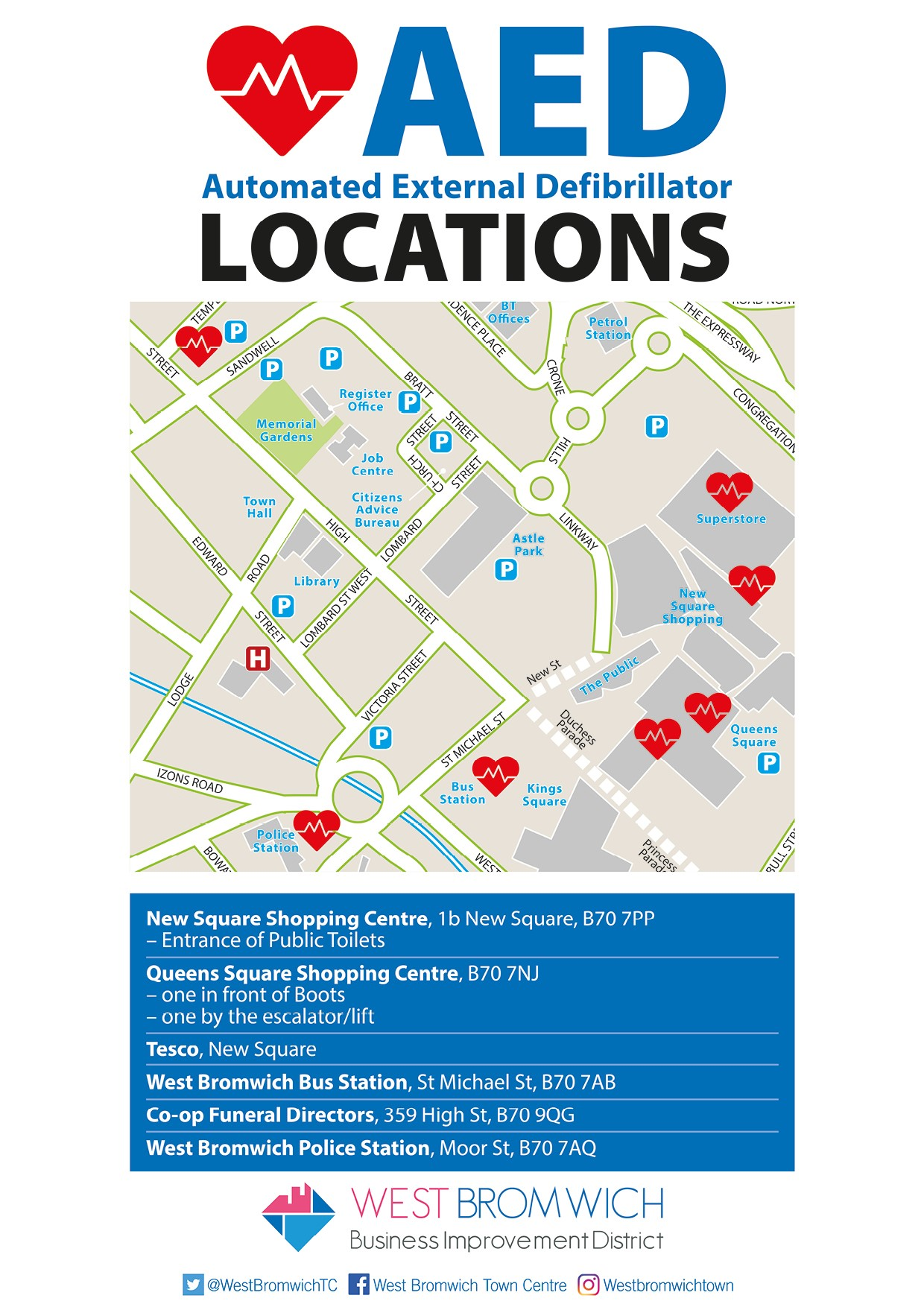 AED Locations in West Bromwich