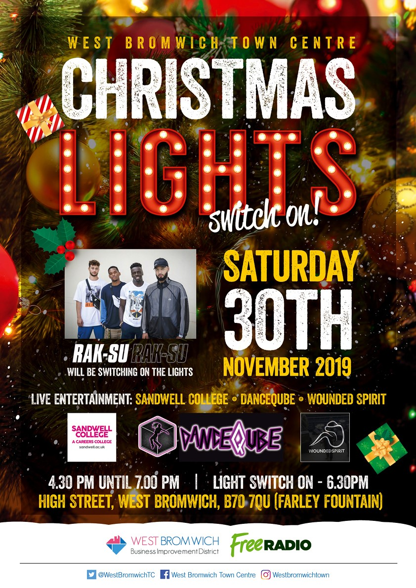 Rak-Su are coming to West Bromwich to switch our Christmas lights on