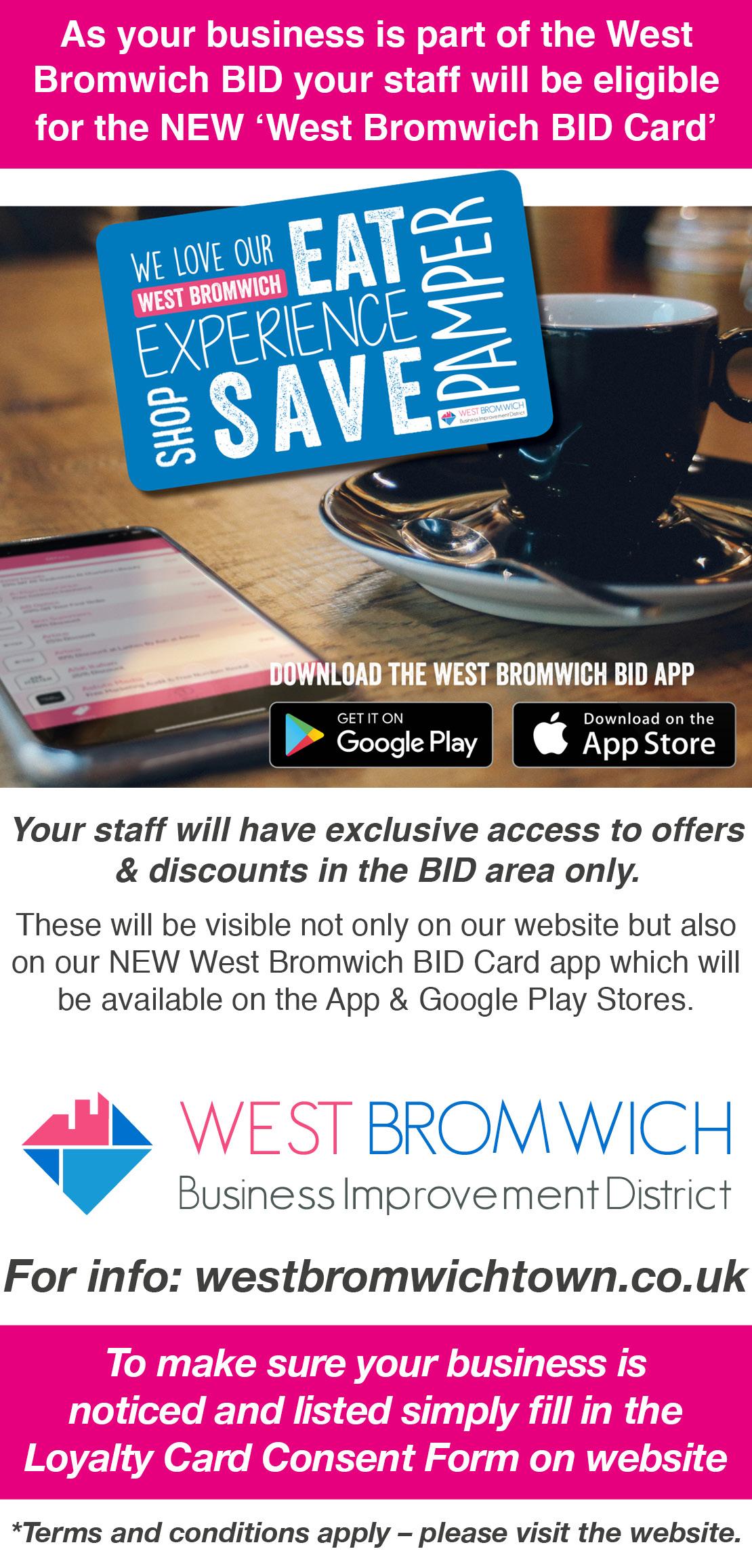 West Bromwich BID Business Staff Loyalty Card