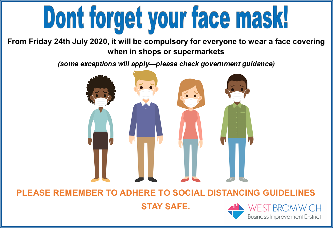 Don't forget your face coverings in shops and supermarkets from tomorrow!